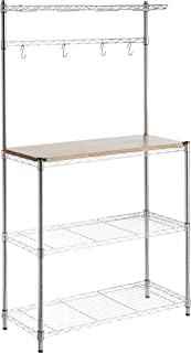"AmazonBasics Kitchen Storage Baker's Rack with Table, Wood/Chrome - 63.4"" Height"