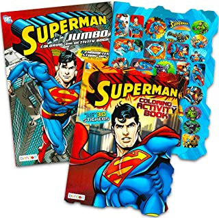 Superman Coloring Book Set with Stickers (2 Books, Superman Party Supplies)