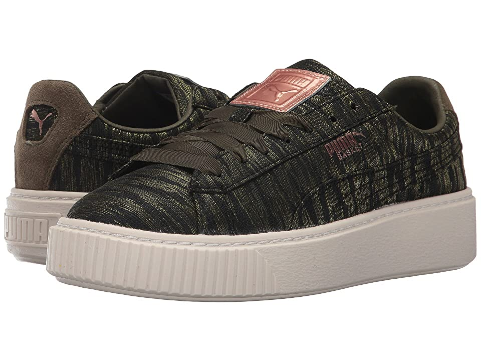 finest selection d3d40 89e18 PUMA Basket Platform VR (Olive Night/Olive Night) Women's Shoes