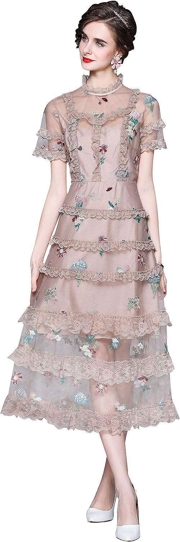 Women's Elegant Embroidered Sheer Mesh Flounce Short Sleeve Overlay Lace Midi Dress