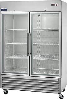 Arctic Air AGR49 Two Door Glass Reach-In Refrigerators, 2 doors 6 shelves, 33DF to 41DF, 49 cu. ft, Stainless Steel
