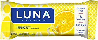LUNA BAR - Gluten Free Bars - Lemon Zest Flavor - (1.69 Ounce Snack Bars, 15 Count)