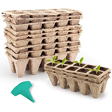 GROWNEER 12 Packs Peat Pots Seed Starter Trays, 120 Cells Biodegradable Seedling Pots Germination Trays, Organic Plant Starter Kit with 15 Pcs Plant Labels