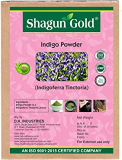 Shagun Gold A 100% Natural ( Indigofera Tinctoria ) Natural Indigo Powder For Hair Certified By Gmp / Halal / ISO-9001-2015 No Ammonia, No PPD, Chemical Free 14 Oz / ( 1 / 2 lb ) / 400g