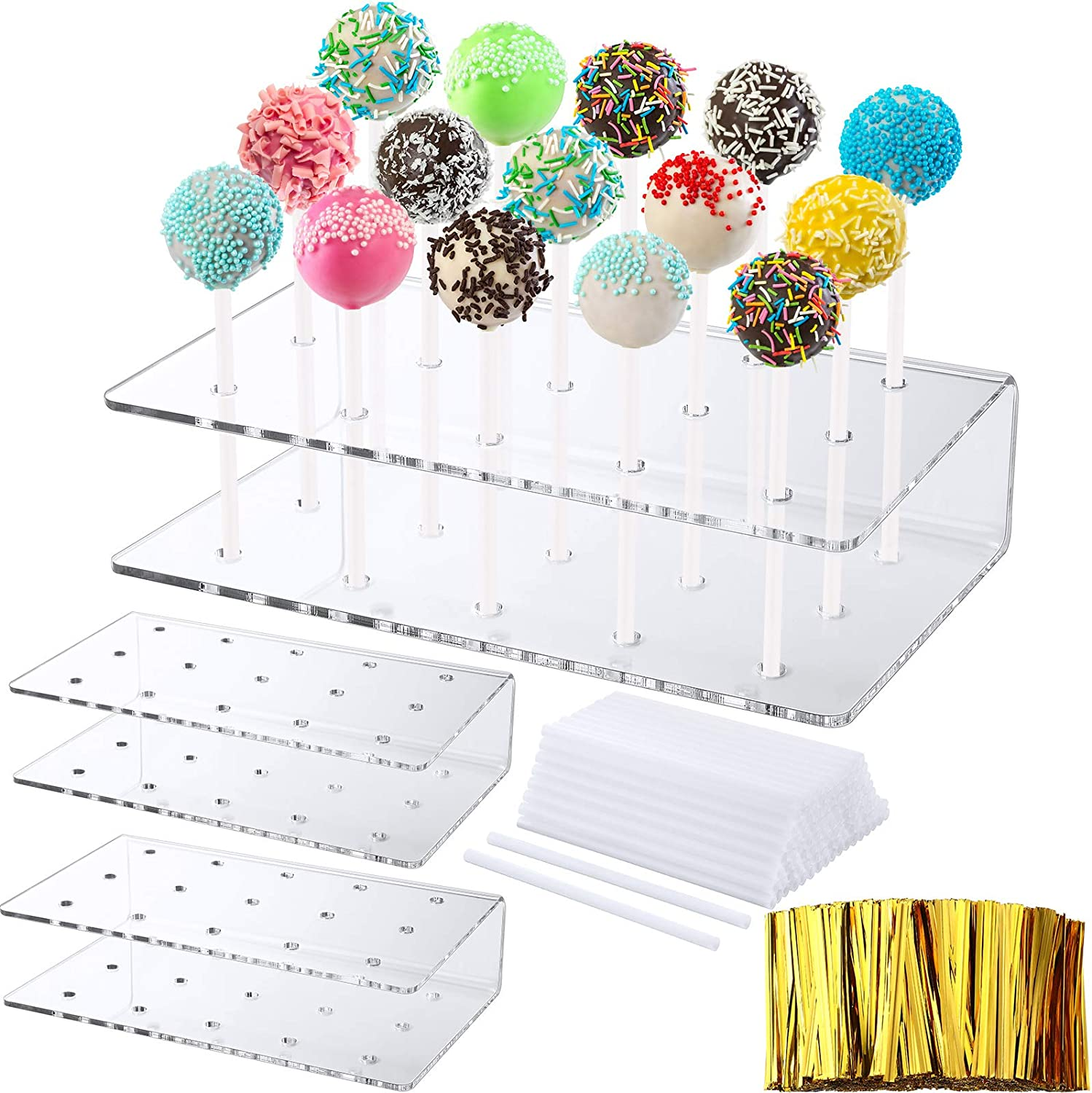 3 Pieces Acrylic Cake Pop Stand 15 Holes Clear Lollipop Holder Stand with 80 Pieces Lollipop Treat Sticks and 800 Pieces Gold Twist Ties for Party Valentine's Day St. Patrick's Day Candy Decor
