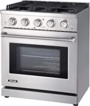 LYCAN Professional Gas Range Cook Top - Heavy Duty Stainless Steel Stove with 4 Burners - 4.55 cu.ft. Kitchen Gas Oven wit...