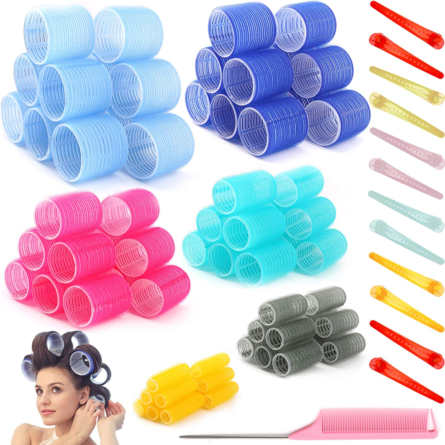 85 PCS Self Grip Hair Super El Paso Mall sale period limited Roller Curler Heatless Sets 6 Jumbo S Size