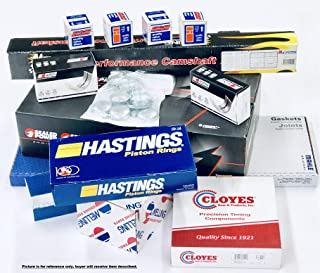 MASTER Engine Overhaul Rebuild Kit compatible with 1969-71 Ford 351W Flat Top Pistons+Rings+Cam 4BBL+Bearings