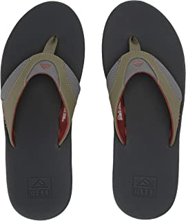 Reef Sandals Fanning |Bottle Opener Flip Flops for Men, Olive/Rust, 11 M US