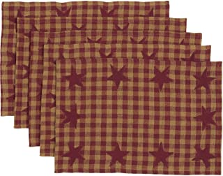 VHC Brands Primitive Tabletop Kitchen Cody Burgundy Cotton Appliqued Star Rectangle Placemat Set of 6, Red