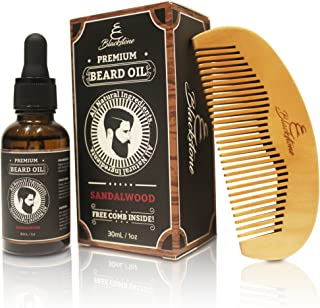 Blackstone Naturals Sandalwood Beard Oil Kit - All Natural Beard and Mustache Conditioner 30mL- Argan Oil, Jojoba Oil, Vit...