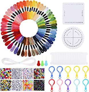 Yaromo Bracelet Making Beads Kit with 50 Embroidery Floss, 950 Pieces Alphabet Letter Beads and Braiding Disc for Friendship Bracelets, Jewelry Making