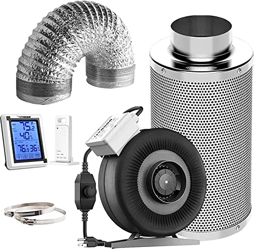 2021 VIVOSUN Air sale Filtration Kit: 8 Inch 740 CFM Inline Fan with Speed Controller, 8 Inch Carbon Filter and 25 new arrival Feet of Ducting Combo, Digital Hygrometer Thermometer Humidity Monitor sale