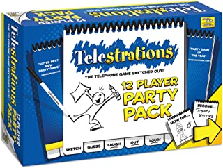 USAOPOLY Telestrations Party Pack 12 Player | 600 New Phrases to Sketch | Family Board Game | A Fun Family Game for Kids and Adults | Family Game Night Just Got Better | Telephone Game Sketched Out