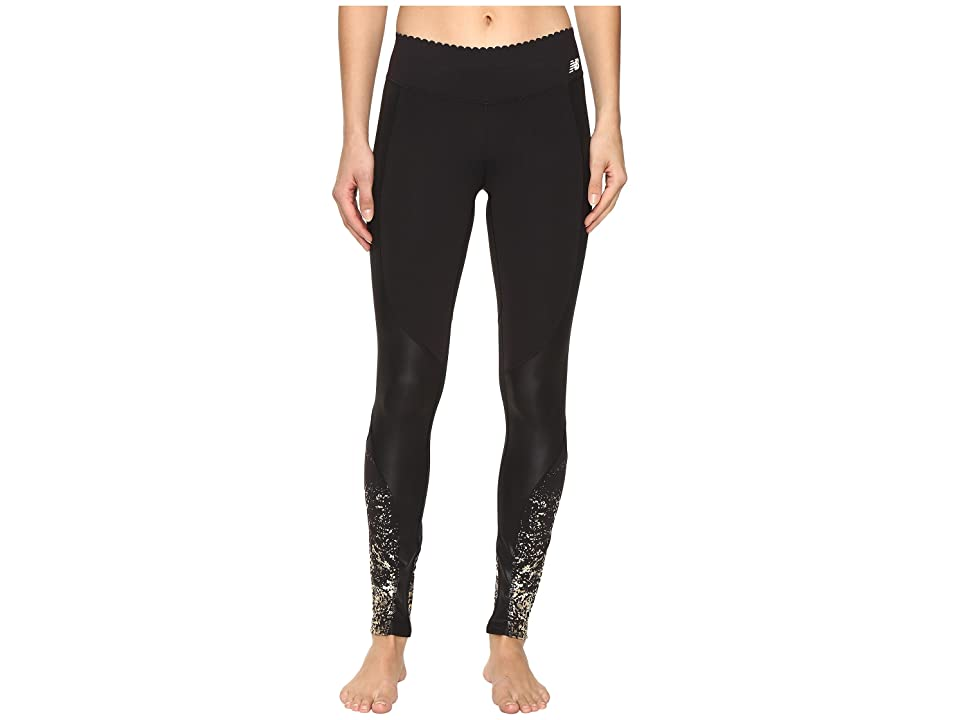 New Balance Fashion Intensity Tights (Gold Glitter Print/Black) Women
