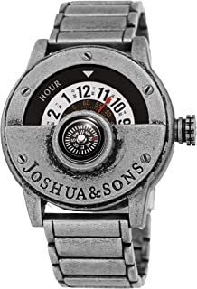 Heavy Duty Rugged Men's Watch – Explorer Style with Built in Compass – Unique Rotating Wheel Display On Rustic Link Bracelet - JX139