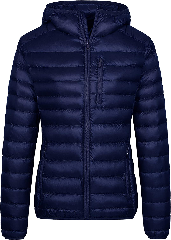 Wantdo Women's Packable Down Jacket Lightweight Puffer Jacket Hooded Winter Coat