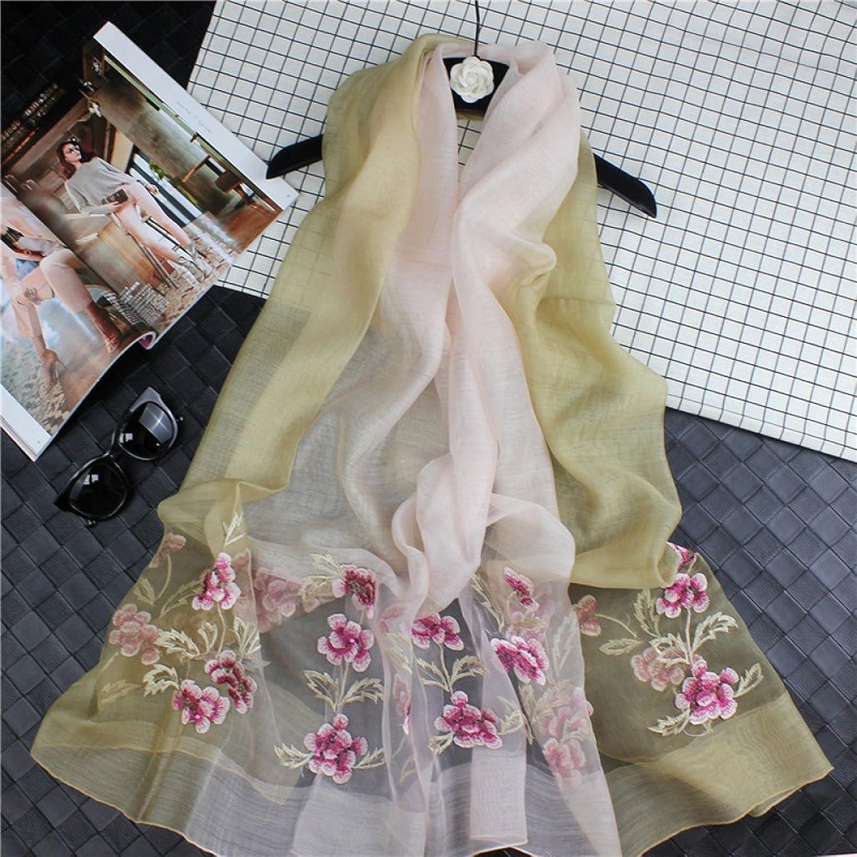 JUN Silk Scarf Print Embroidery Embroidery Flowers Mulberry Silk Gradient Silk Scarf Silk Joker Sun Shawl Long Scarf Thin Beach Towel (Length  180  90cm, Packing of 1) (color   J)