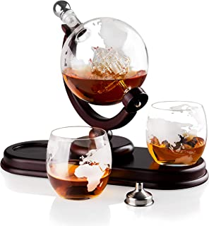 Globe Liquor Decanter set with 2 Etched Whisky Glasses by QUASIFY - for Liquor, Whiskey, Scotch, Bourbon - 850ml (Silver Stopper)