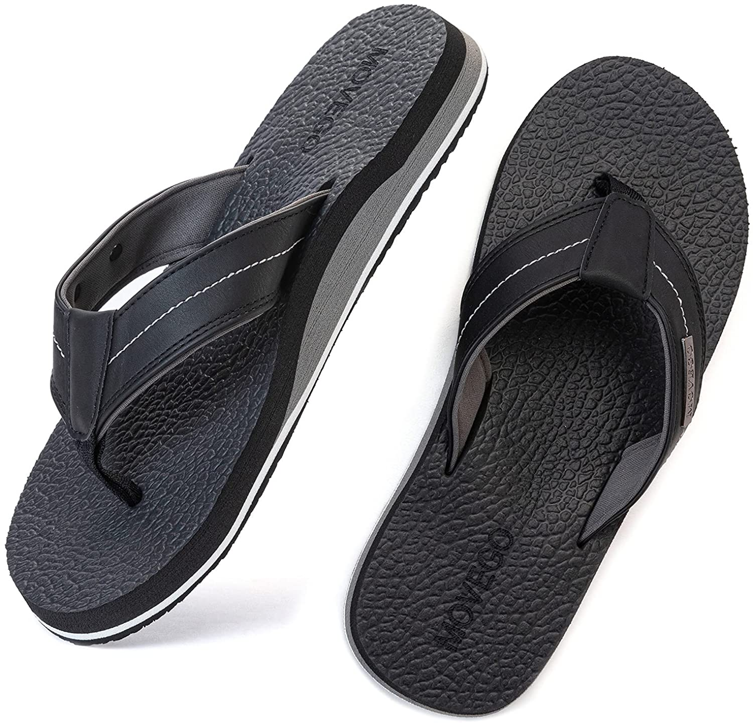 MOVEGO Flip Flops for Mens with Arch Support Sandals Wide Comfort Yoga Mat Footbed Summer Outdoor Non Slip Thong Sandals