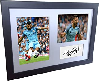 Signed Black Soccer Sergio Aguero Manchester City Autographed Photo Photographed Picture Frame A4 12x8 Football Gift