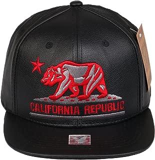 PU Leather Hip Hop California Republic Cap CALI Bear Snapback Hat (PU One Size)