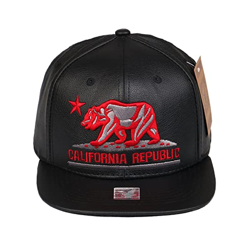 RufnTop PU Leather Hip Hop California Republic Cap CALI Bear Snapback Hat  (PU One Size 3f8765001e8