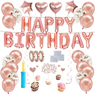 Happy birthday Rose gold theme balloons kit, Birthday decorations set, Helium balloons, party supplies kit, confetti, latex balloons and Air pump, cake toppers, and swirls for girls and for boys