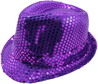 Sequin Fedora Hat Solid Color Cap Jazz Dance Hats Glitter Party Costume for Kids & Adult