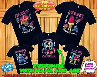 Trolls birthday shirt, Trolls Poppy Branch birthday tshirt, Trolls theme party shirts, Trolls family shirts, Trolls matching shirts