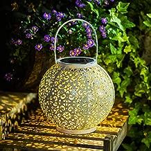 Solar Big Lantern Hanging Garden Outdoor Lights Metal Waterproof LED Table Lamp Decorative white