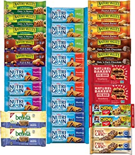 Healthy Snacks, Variety Pack, Breakfast Bars, Including Nature Valley, Belvita, Nature Bakery, Nutri Grain, Chewy and Fiber One