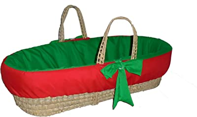 Baby Doll Bedding Holiday Solid Reversible Moses Basket, Red/Green