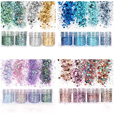 Unime Body Glitter 16 Colors Chunky Glitter for Body Face Hair Make Up Nail Art Mixed Color Glitter