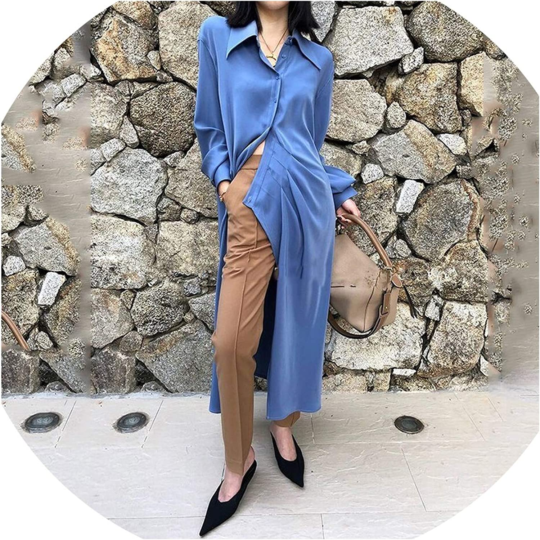 Pinkstar Asymmetrical Shirt Dress Women Lapel Collar Long Sleeve High Split Female Dresses Spring