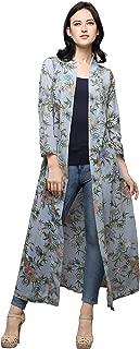 Serein Women's Shrug (Light Blue Floral Print Georgette Shrug/Jacket with 3/4th Sleeve)