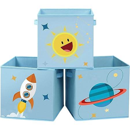 SONGMICS Boîtes de Rangement, Lot de 3, Organisateurs pour Jouets, Cubes Pliables avec poignées, pour Chambre d'enfant, Salle de Jeux, 30 x 30 x 30 cm, thème de l'espace, BleuRFB001B03