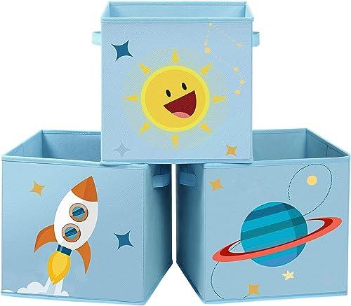SONGMICS Boîtes de Rangement, Lot de 3, Organisateurs pour Jouets, Cubes Pliables avec poignées, pour Chambre d'enfan...