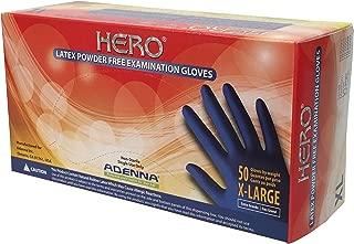 Adenna Hero 14 mil Latex Powder Free Exam Gloves (Blue, X-Large) Box of 50