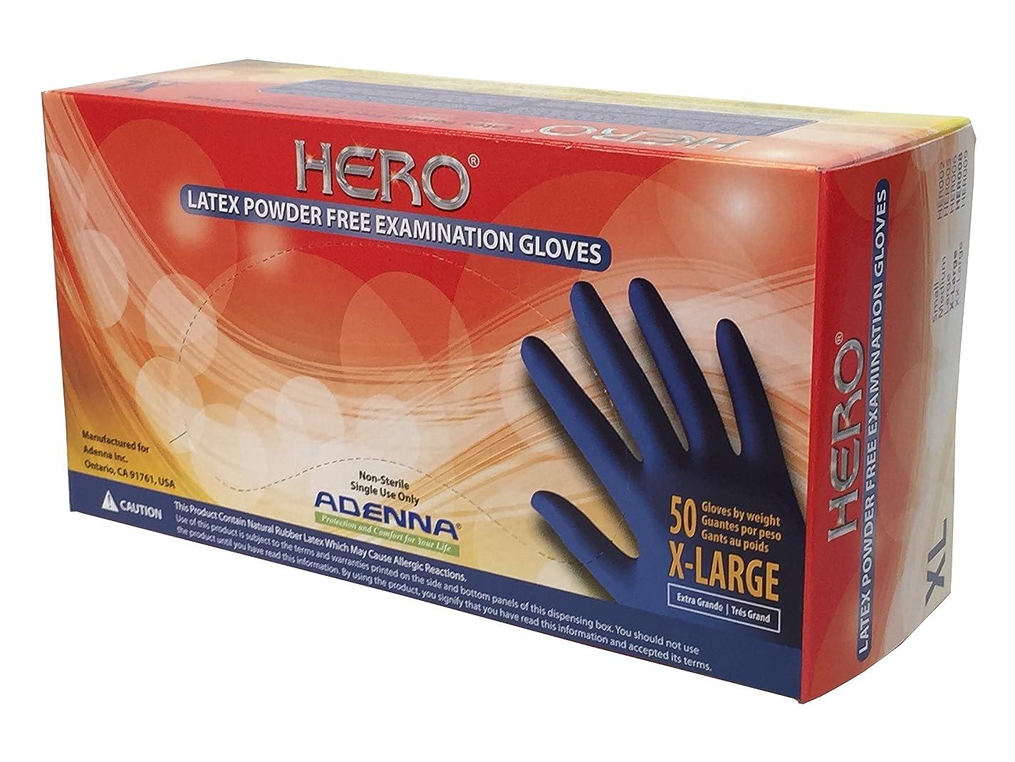 鹿近代化テスピアン(X-Large) - Adenna Hero 14 mil Latex Powder Free Exam Gloves (Blue, X-Large) Box of 50