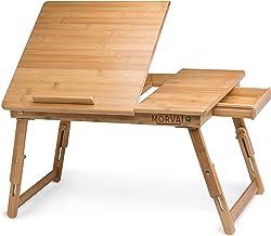 میز موروات برای لپ تاپ، سینی لپ تاپ قابل تنظیم برای تخت، کامپیوتر قابل حمل، میز نوشتن، میز لپ تاپ، میز لپ تاپ، میز سینی - قفسه کشویی با کشوی مغناطیسی، 100٪ چوب بامبو طبیعی