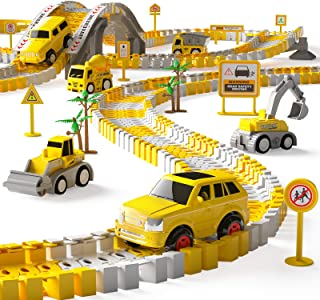 iHaHa 236PCS Construction Race Tracks for Kids Boys Toys, 6PCS Construction Car and Flexible Track Playset Create A Engine...