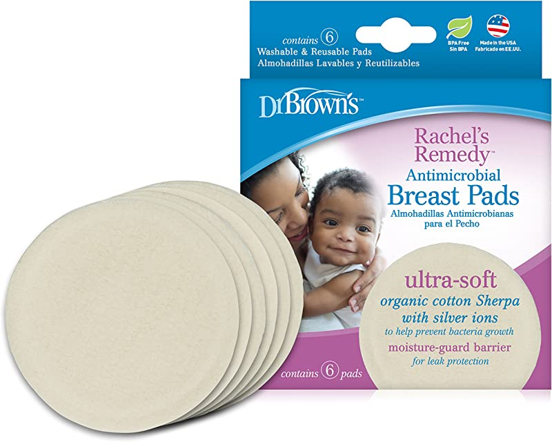 Dr Brown S Rachel S Remedy Antimicrobial Breast Pads Ultra Soft Organic Sherpa With Silver Ions Absorbent Washable Reusable 6 Count