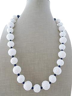 Collana con sfere in conchiglia bianca intagliata e lapislazzuli blu, collana pietre dure, bijoux contemporanei, gioielli ...