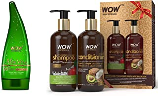 WOW Aloe Vera Multipurpose Beauty Gel for Skin and Hair, 130ml and WOW Apple Cider Vinegar Shampoo - WOWsome Twosome No Parabens & Sulphates Hair Care Package – 600mL