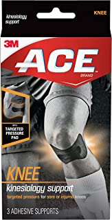 ACE Kinesiology Knee Support, Flexible Fiber, Pre-Cut Design Contours to Knee, Breathable, Water-Resistant, May Be Worn for up to Three Days