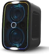 Brookstone Big Blue Go Altavoz portátil inalámbrico de alta potencia para interior/exterior, Bluetooth, almohadilla de carga Qi incorporada, luces de fiesta LED, entrada de micrófono de karaoke, audio de alta resolución, graves intensos, IPX5, toque a enlace