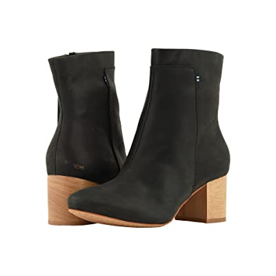 TOMS Evie (Black Leather) Women