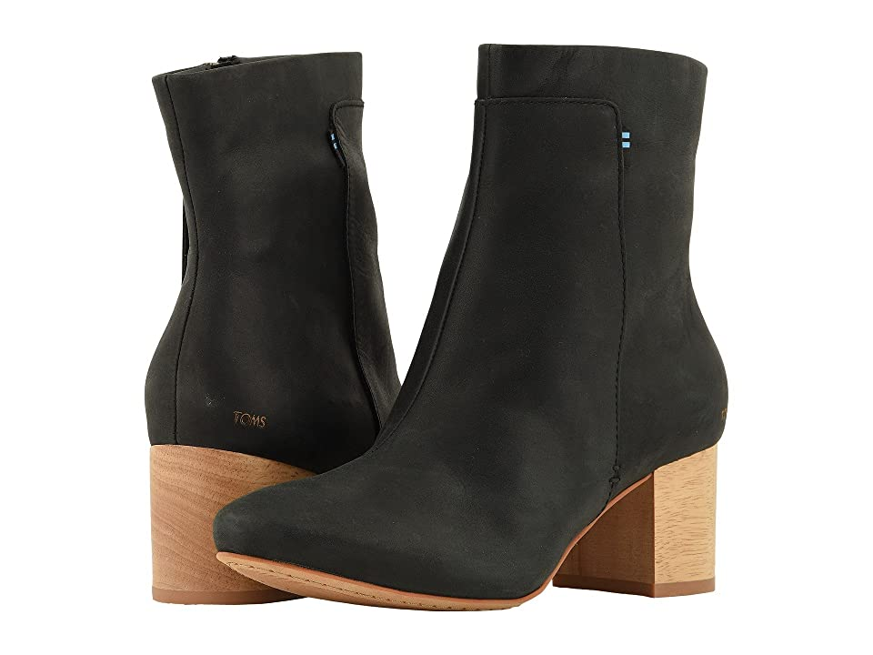 TOMS Evie (Black Leather) Women