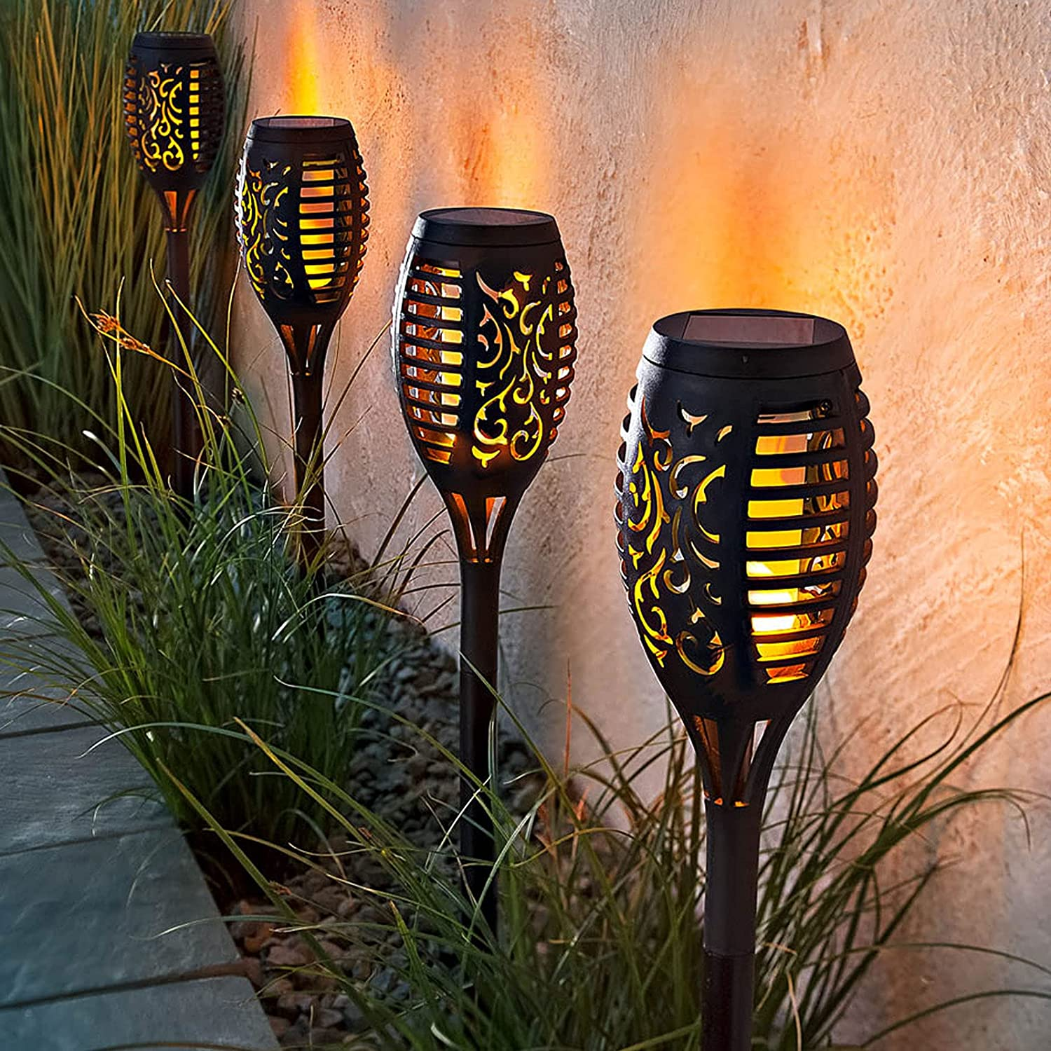 Limited time sale 6PK Mini Solar Outdoor Super special price Torch Wa Flickering Flame Lights Dancing